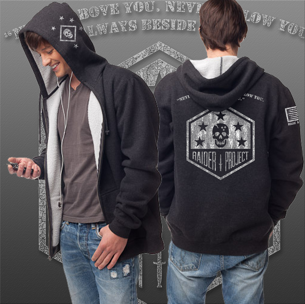The Raider Project zipped hoodie for the really cold days, reach for our Men's thermal sherpa zip hooded sweatshirt. Constructed with premium, soft thermal fabric on the outside, bonded to ultra-soft sherpa on the inside. It's topped off with a #5 nickel kissing zipper, heavy gauge flat drawcord with nickel eyelets, 1x1 ribbing at cuffs, waistband and pocket openings and enzyme washed for extra softness.