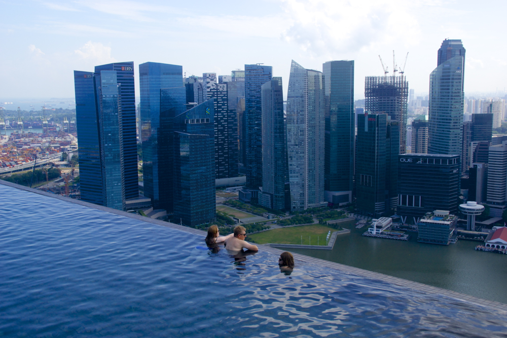 The rooftop pool at the Marina Bay Sands.