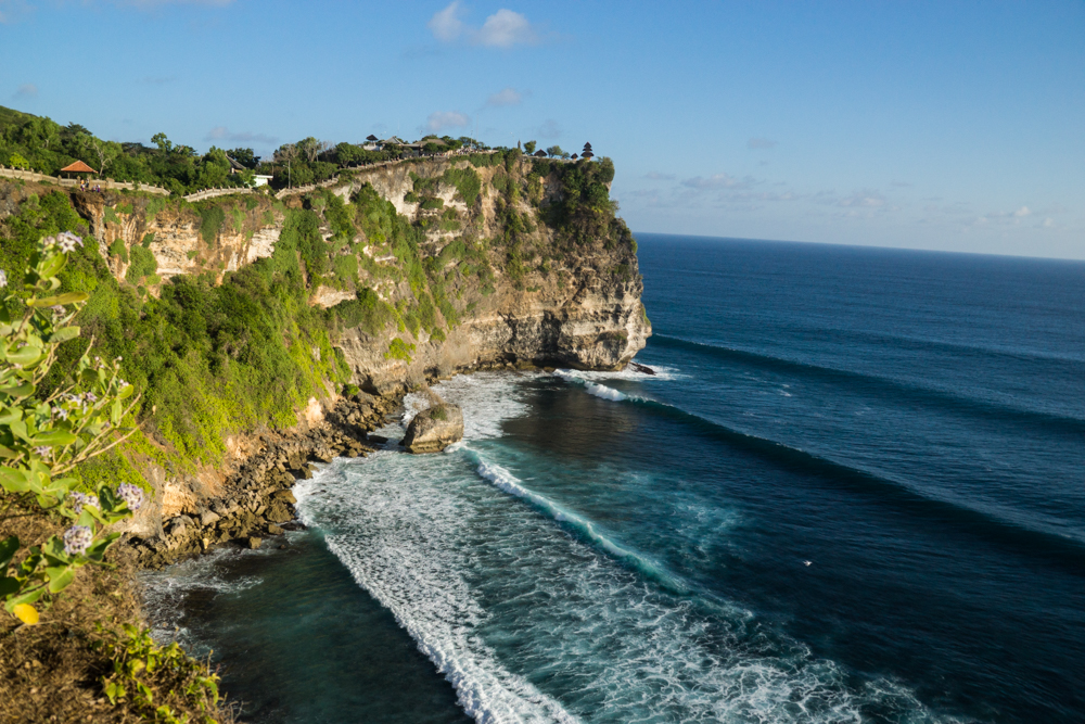 Uluwatu temple and cliffs.