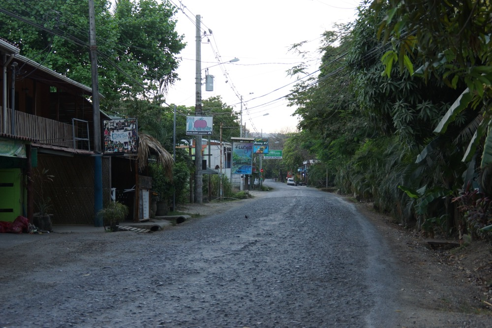 Empty main street at 6 am in Santa Teresa.