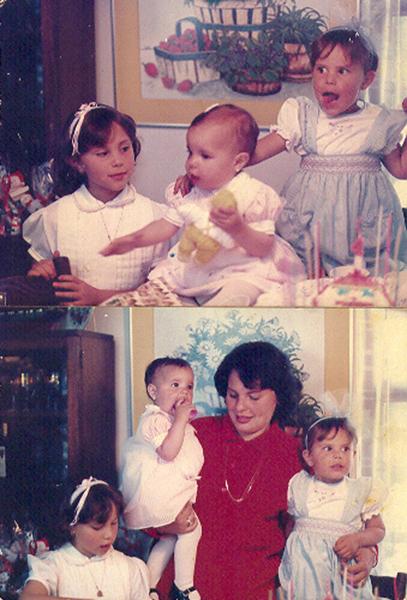 """Angela Castillo   """"El japiverdei de mi hermanita menor cuando cumplia 1 año en 1987.Arriba estoy yo, la de azul;mi hermanita Nati y mi hermana mayor,Margarita. Abajo estamos las 3 con mi mamá."""""""