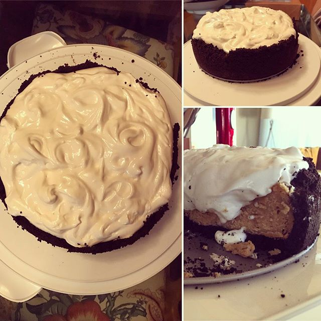 Peanut Butter Cheesecake in an Oreo Crust topped with Marshmallow Frosting........yeah.  #comainducing #thanksgivingdessert #thanksgivingcoma #cheesecake #peanutbuttercheesecake #imadethis #lovetobake #baking #marshmallowfrosting