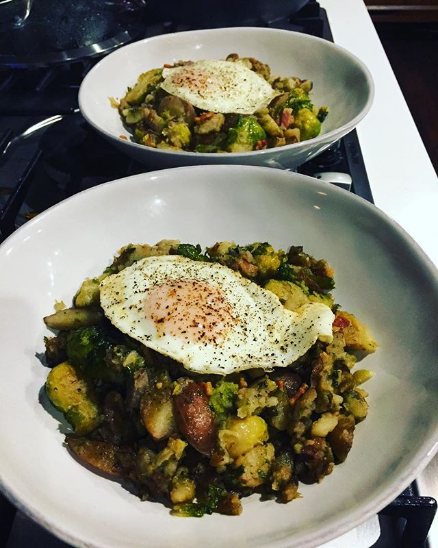 Brussels Sprout and Potato Hash with Bacon, and a Fried Egg. . . . . #leftovers #workwithwhatyougot #putaneggonit #baconmakeseverythingbetter