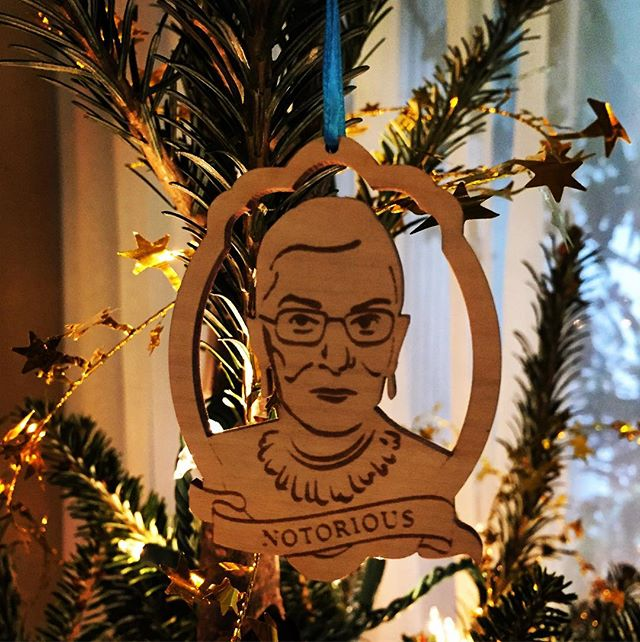 The years we leave town for Christmas I generally keep our tree simple, with just lights and no ornaments. This year, however, we made this one exception. . . #notoriousRBG #Dissent #ruthbaderginsburg #merrychristmas