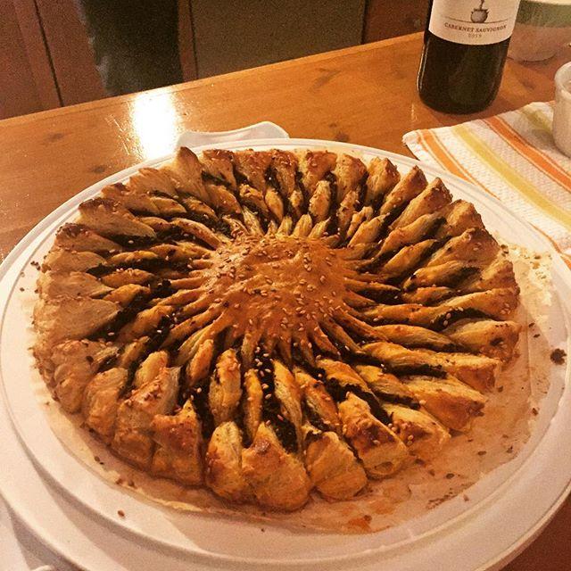 Tapenade Tarte Soleil with Feta dip.  Made by moi.  #tartesoleil #newyearseve #newyear  #tapenade #puffpastry #happynewyear #smittenkitchen