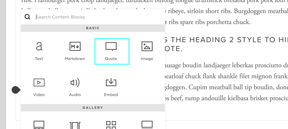 Inserting a Quote Block in the Squarespace editor. Click for the help docs.