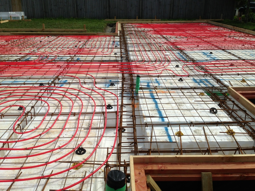 Underfloor heating coils can easily be laid on top of our MAXWaffleRaft.