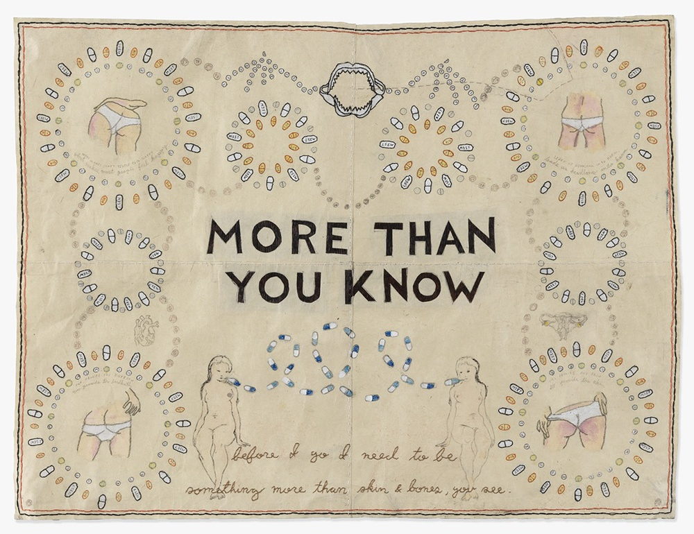 """More Than You Know"" ink, pencil and embroidery on Japanese paper"