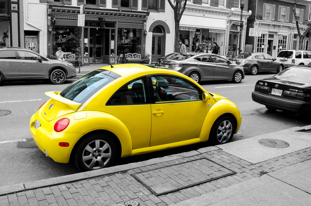 Yellow VW Beetle on Market Street in Fredrick, MD