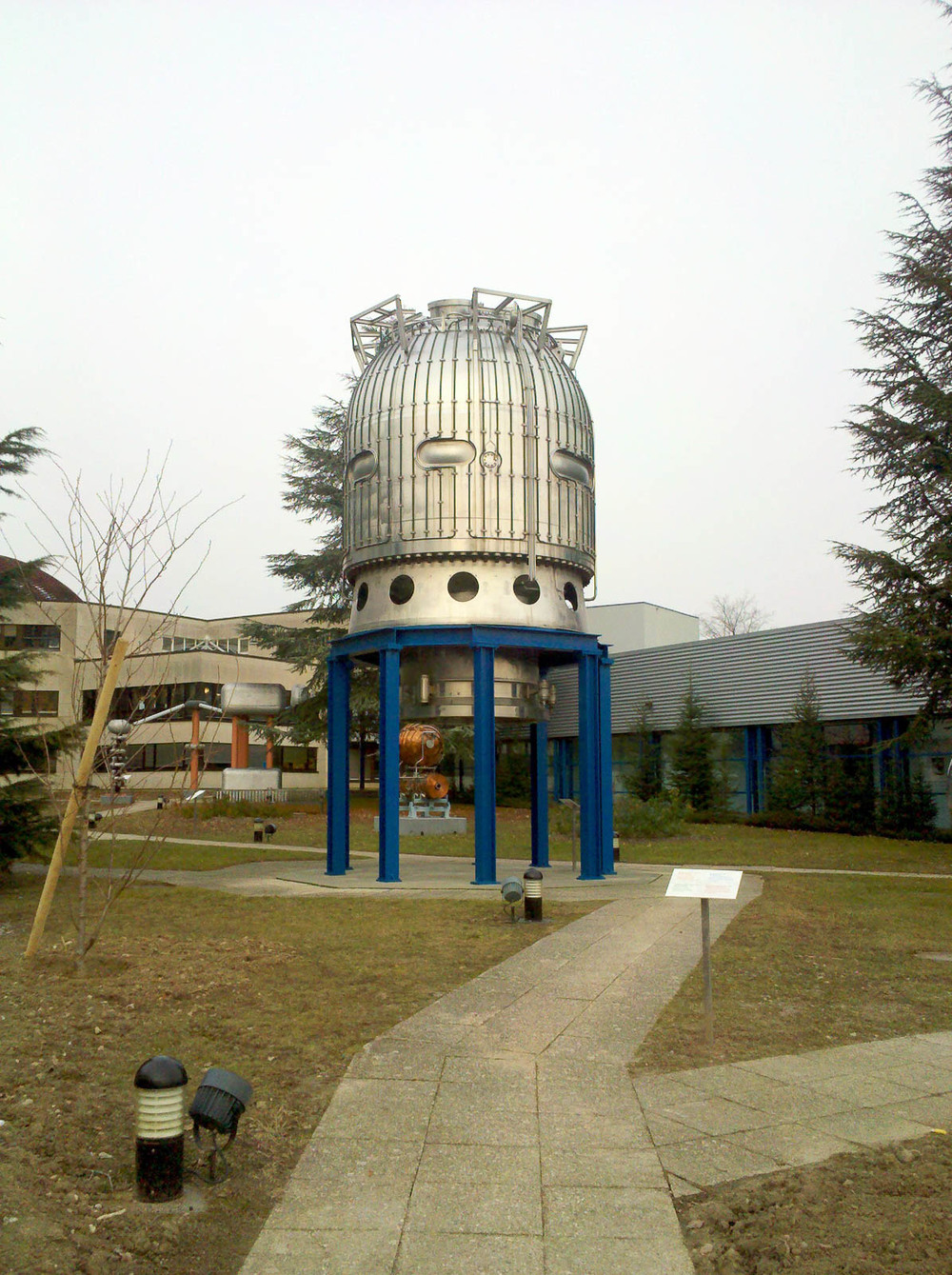 The Big European Bubble Chamber CERN now stands outside CERN museum as a sculpture.