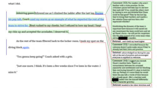 Green balloons are queries. Content blurred to preserve author's privacy.