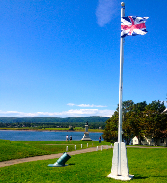 "View of the the Rivière du Dauphin, now Annapolis River, and known as ""the cradle of Acadian Culture"", pictured from Fort Anne at Annapolis Royal.  The fort was originally built by the Scots, and then rebuilt by the French; its final shape as designed by the great Vauban.   The Great Union Flag (1606-1801) is flown over it, in memory of the time the British took over the land.   Peregrinus lies moored just beyond the trees on this picture."