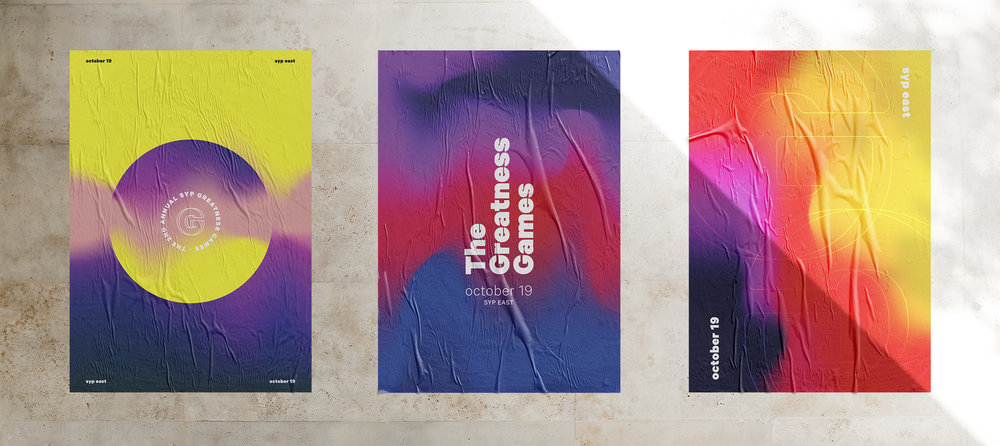 """Trio of posters for The Greatness Games, an annual culture-building """"Office Olympics."""""""