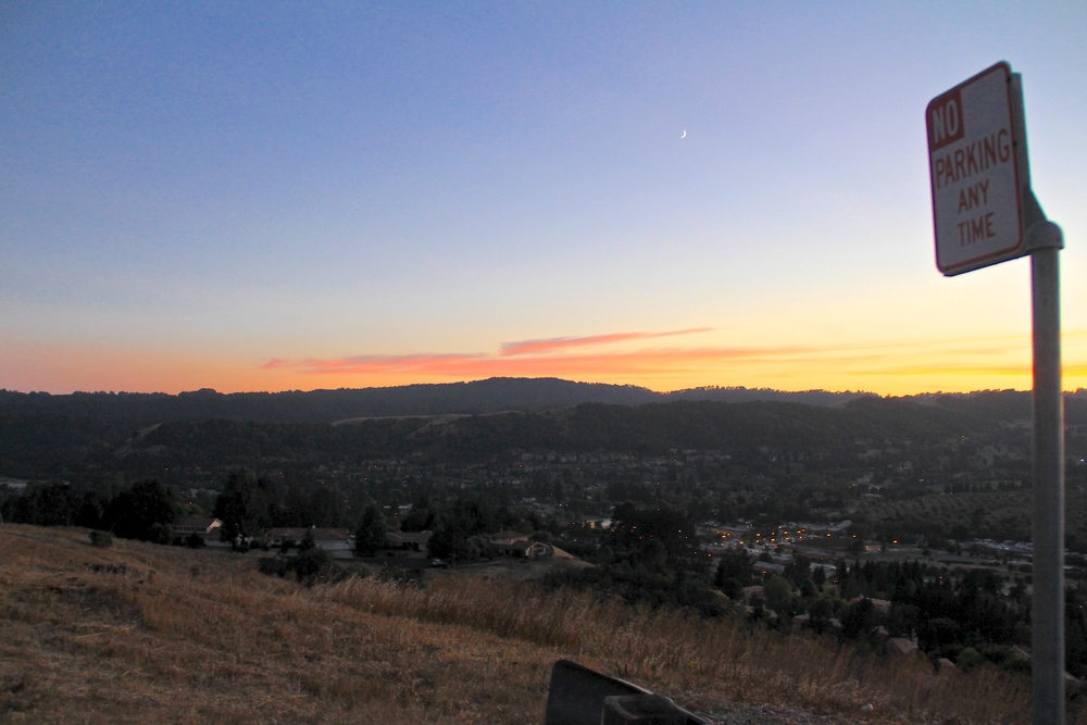 Sunset over the hills in Moraga, CA