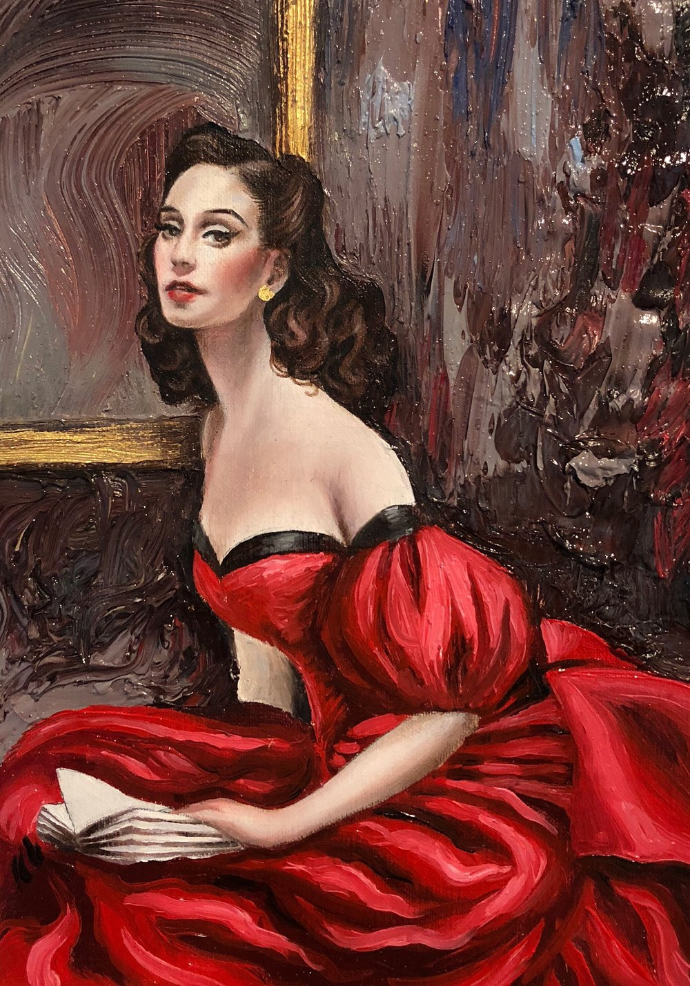"Lady in Red, oil and 23 karat gold leaf on linen, 5""x7"", by Jessica Libor 2018"