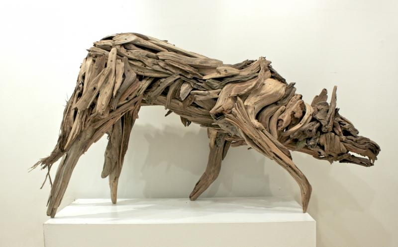 Guthrie Gloag Salmon Wolf (Right Side Profile) 31x60x16 Wood, Bronze, Stone SOLD