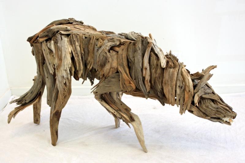 Seawolf (Left Side) 31x57x15.5 Wood, Bone SOLD