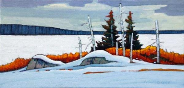 Winter Frasier Lake 8 x 16 Oil on Canvas SOLD