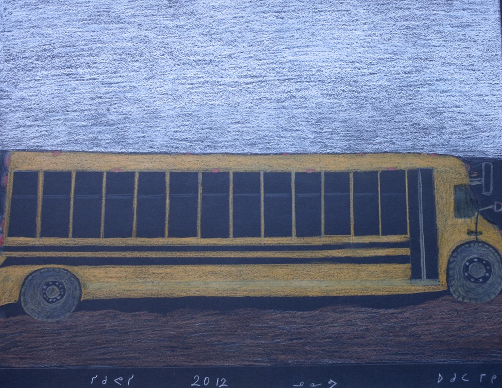 School Bus<Br>20 x 25.5<Br>Coloured Pencil<Br>$ 650