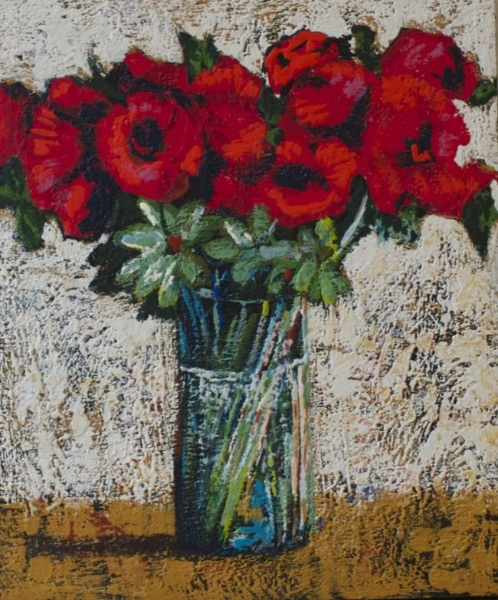 All in a Vase<br>24 x 20<br>Encaustic on board<br>$ 1440