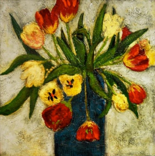 Tulips Galore<br>24x24<br>Encaustic on Board<br>$1725