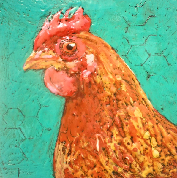 Mama Hen 10 x 10 Encaustic and Mixed Media on Canvas SOLD