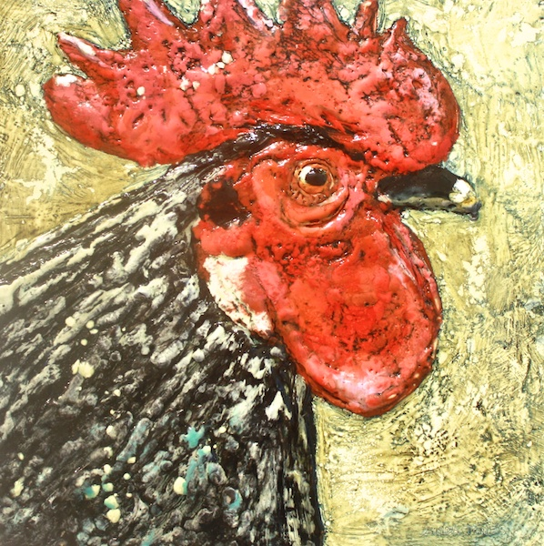 Handsome Boy 12 x 12 Encaustic and Mixed Media on Canvas SOLD