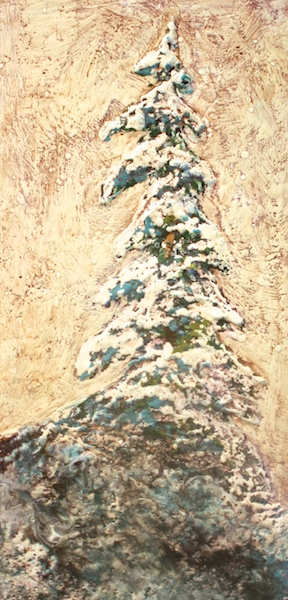 The Leaning Tree<br>24 x 12<br>Encaustic and Mixed Media on Board<br>$ 865