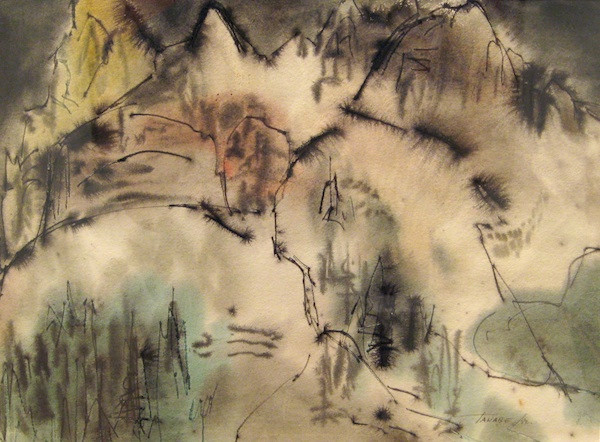 Mountain Landscape (1952)<br>11 x 15.25<br>Watercolour and Ink on Paper<br>SOLD
