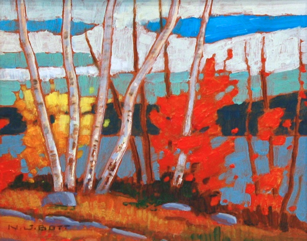 "Birches and Maple 8"" x 10"" Acrylic on board SOLD"