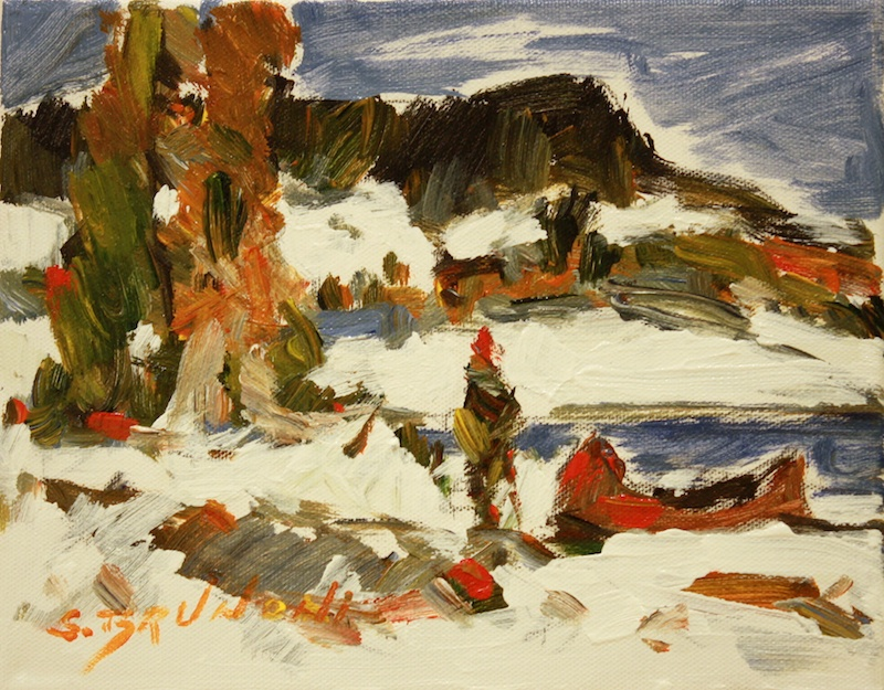 Au bout de lac (Edge of the Lake) 8 x 10 Oil on Canvas SOLD