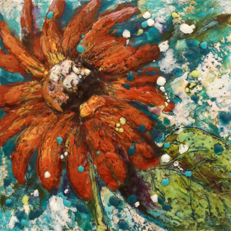 Blooming Rights 10 x 10 inches Encaustic on Board $ 300