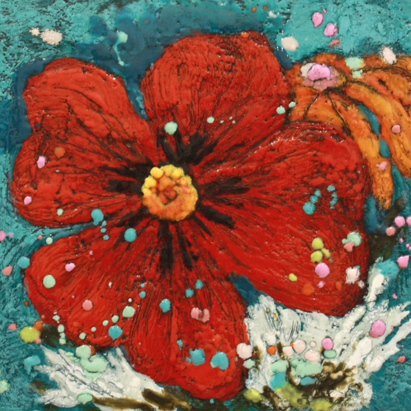 Red Delight 10x 10 inches Encaustic $ 300