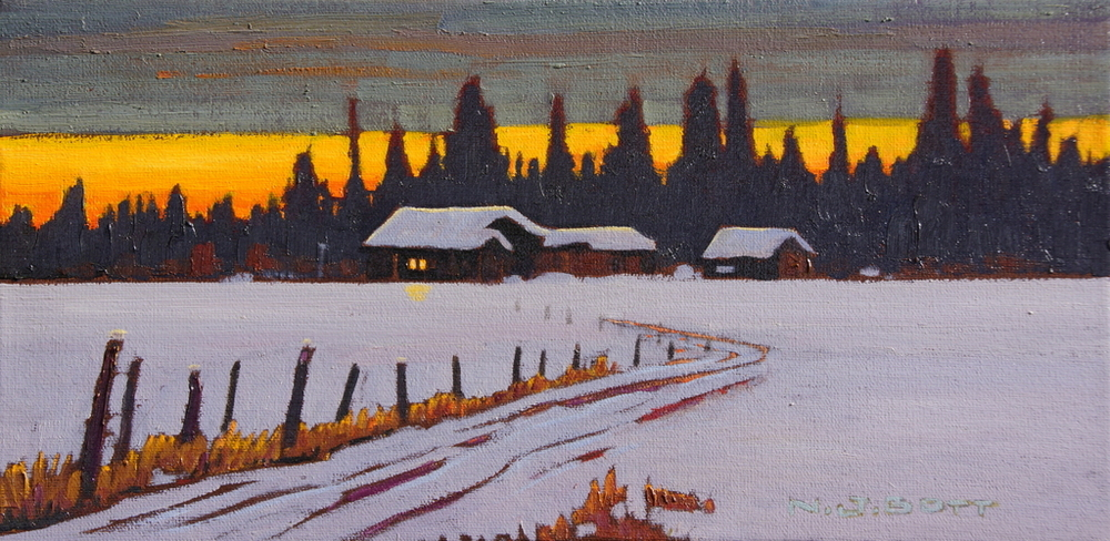 Cariboo Winter Sunset 8 x 16 Oil on Canvas SOLD