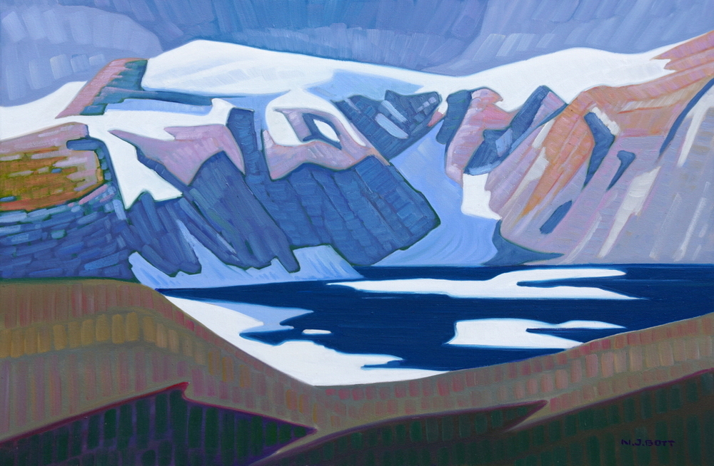 Mountain Lake near Kemano<Br>24 x 36<Br>Oil on Canvas<Br>$ 4800