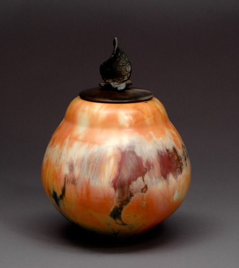 Lidded Vessel  12 x 7  Saggar Fired Ceramic  SOLD