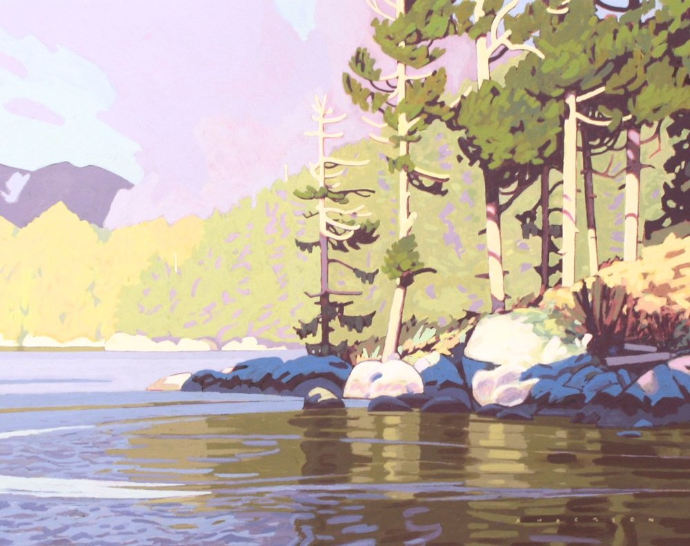 Swift Water in Canoe Rapids Pass  14.5 x 18.5  Acrylic on Board  SOLD