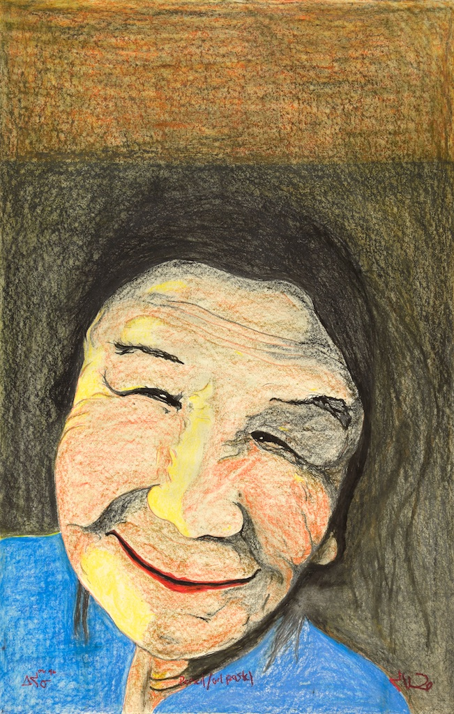 Woman with Blue Shirt<Br>50 x 33<Br>Oil Stick on Paper<Br>$ 3750