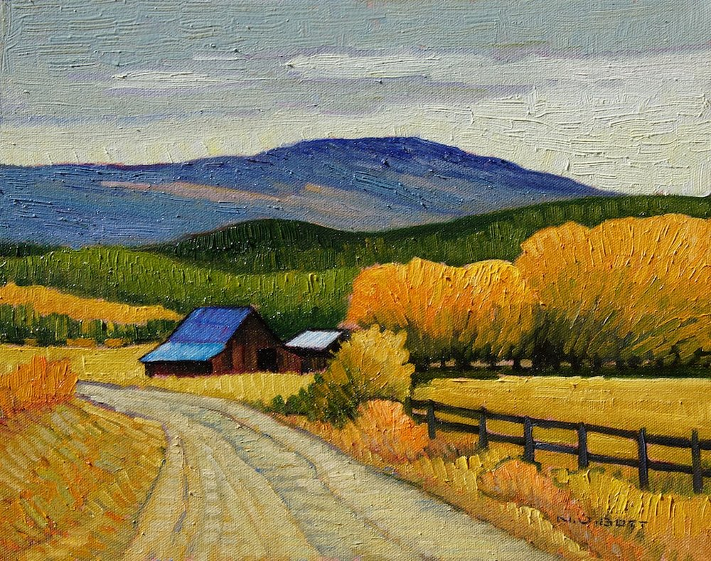 Country Road and Barns<Br>11 x 14<Br>Oil on Canvas<Br>$ 1550 (framed)