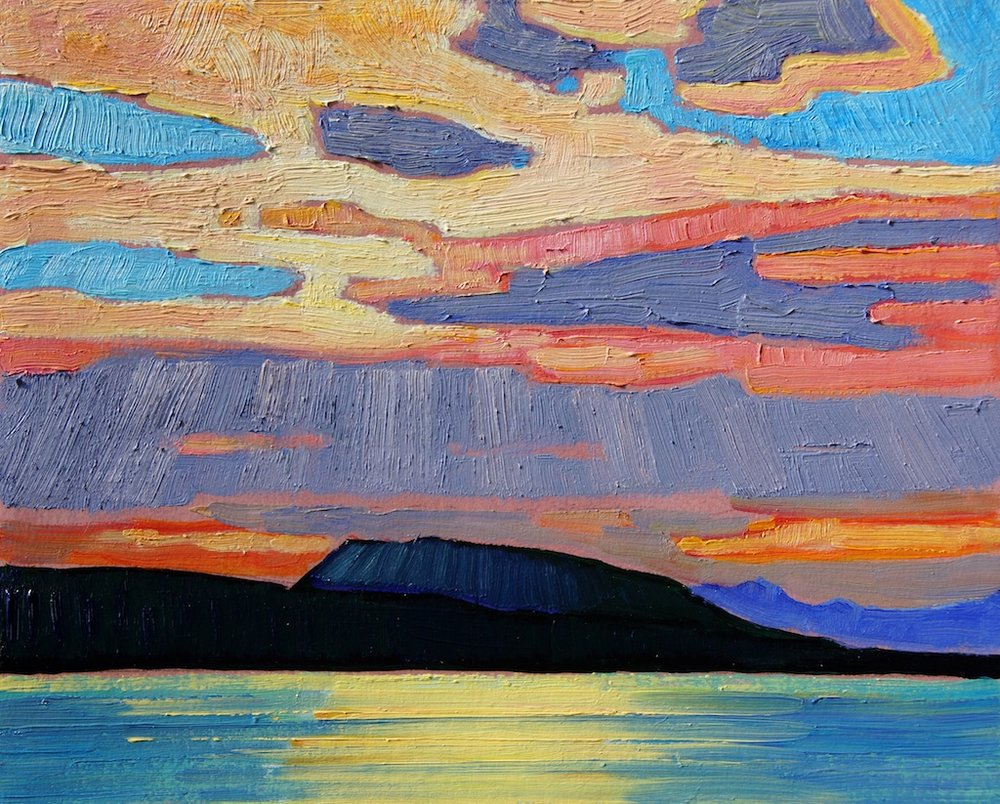 Sunset in the Gulf Islands 8 x 10 Oil on Board $ 1250 (framed)