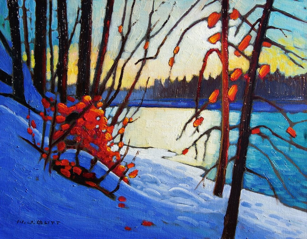 Winter Light - Bulkley River 11 x 14 Oil on board SOLD