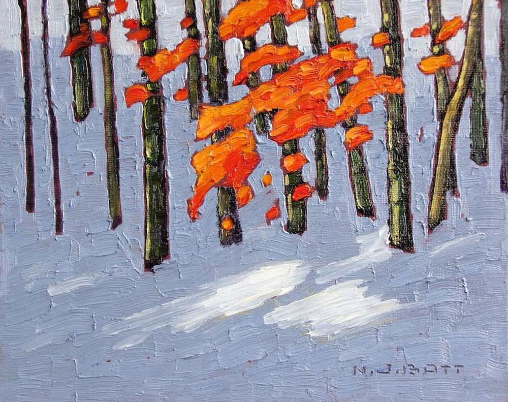 November Snow<Br>8 x 10<Br>Oil on board<Br>$ 1250 (framed)