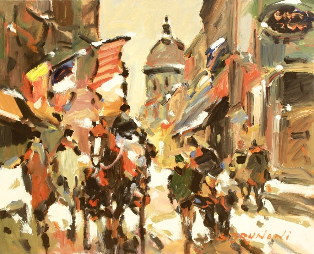 St Paul Street, Montreal<Br>24 x 30<Br>Oil on Canvas<Br>$ 2,940