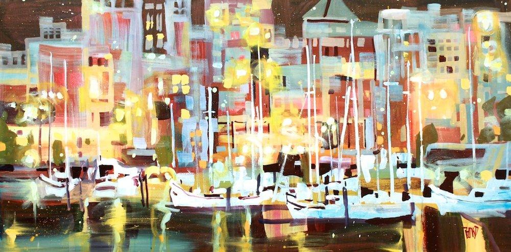 Harbour Lights<Br>24 x 48<Br>Acrylic on Canvas<Br>$ 3475