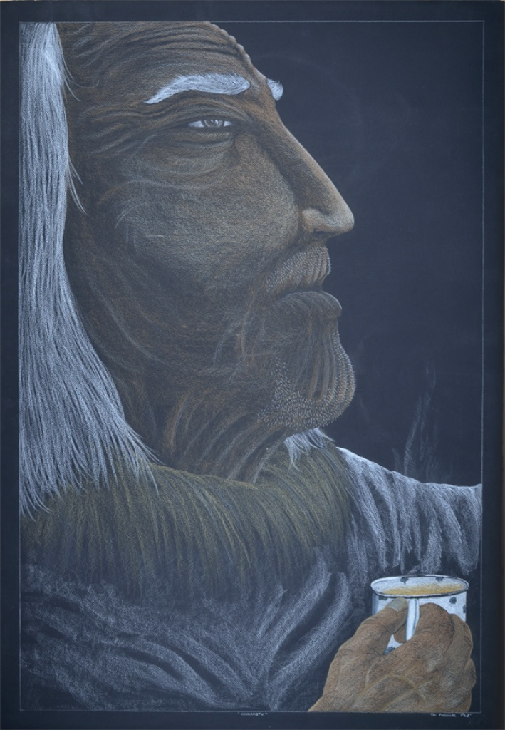 Tim Pitsiulak<br>Unikaaqtu<br>44 x 30<br>Coloured Pencil on Black Paper<br>SOLD