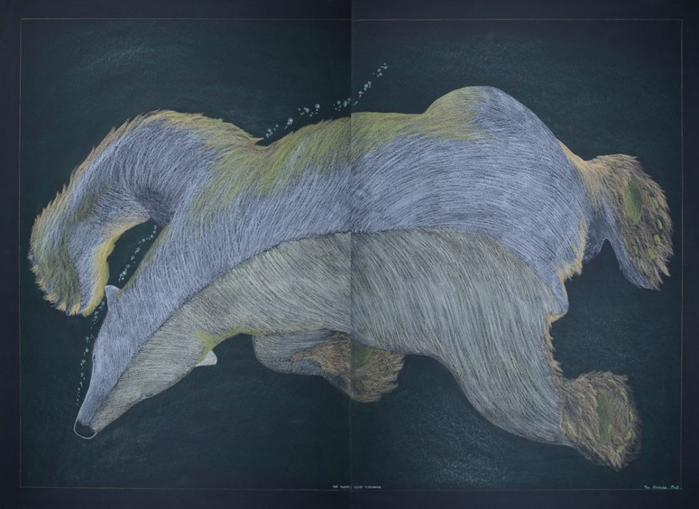 Tim Pitsiulak<br>The Ocean's Their Playground<br>44 x 60 (Diptych)<br>Coloured Pencil