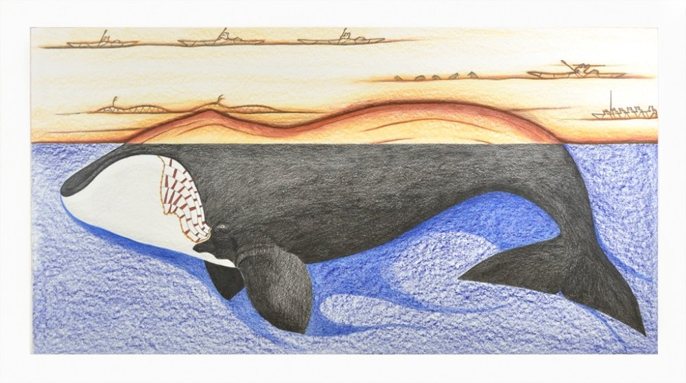 Tim Pitsiulak<br>Pijuqait Nunauumi (Old history of the land)<br>27.5 x 48.5<br>Coloured Pencil and Ink<br>SOLD