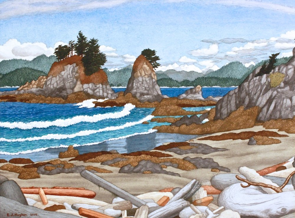 E.J. Hughes<br>Breaker Beach<br>18 x 24<br>Watercolour<br>SOLD