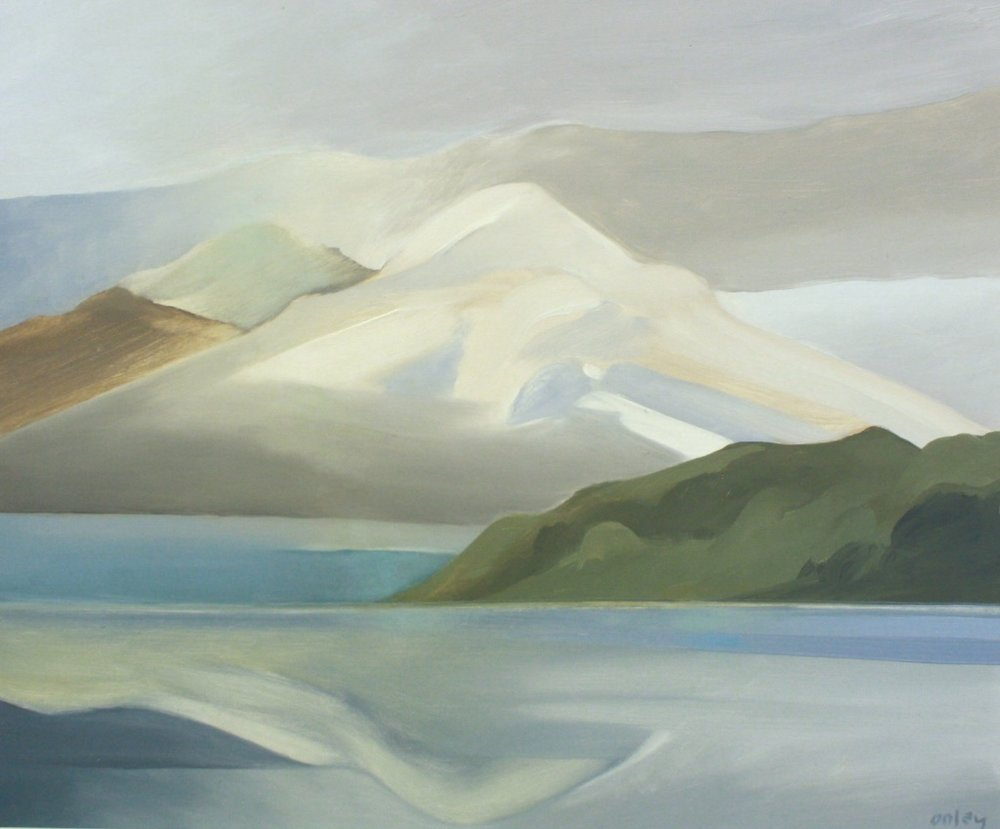 Toni Onley<br>Mount Cheam over Harrison Lake<br>20 x 24<br>Oil on Board<br>SOLD
