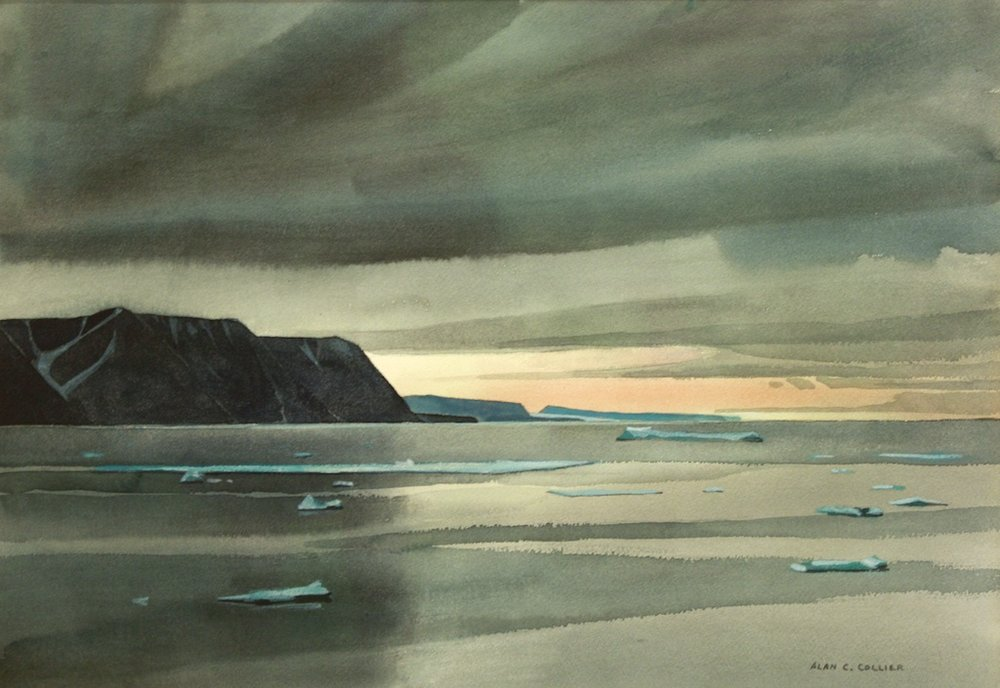 Alan Collier<br>Cape Warrender - Devon Island<br>13 x 19<br>Watercolour<br>SOLD